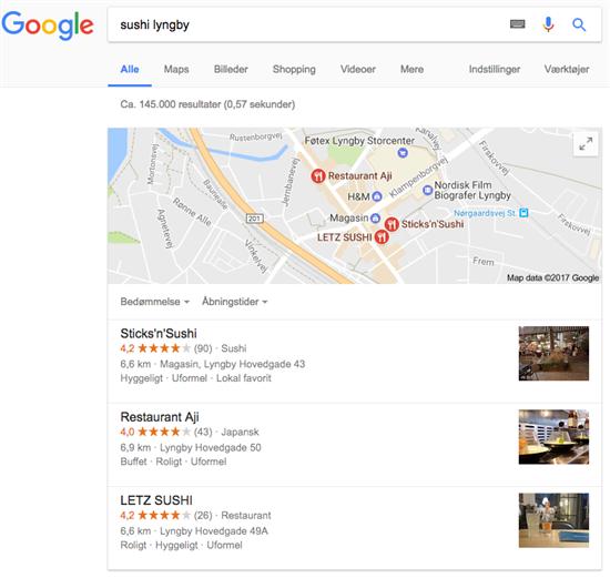 """53034280841 ... hvis man søger på en type af virksomhed, i stedet for en bestemt  virksomhed. Nedenfor kan du se et eksempel på en søgning på """"sushi Lyngby""""."""