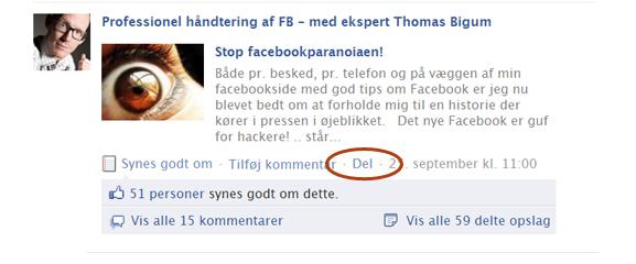 kan ikke dele opslag på facebook